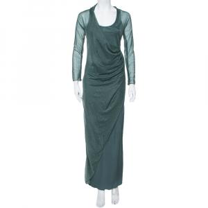 Giorgio Armani Dark Green Embellished Mesh & Knit Draped Maxi Dress S - used