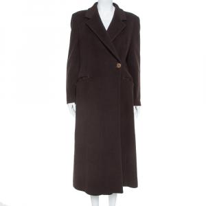 Giorgio Armani Brown Wool Double Breasted Coat M