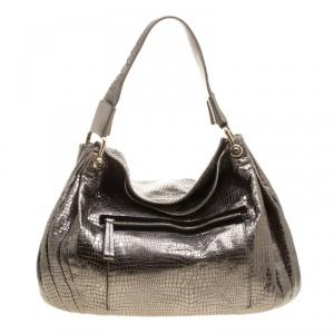 Giorgio Armani Metallic Silver Exotic Embossed Leather Hobo