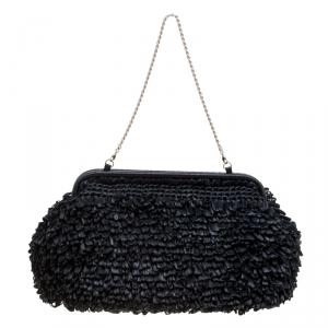 Giorgio Armani Black Raffle Straw Large Chain Clutch