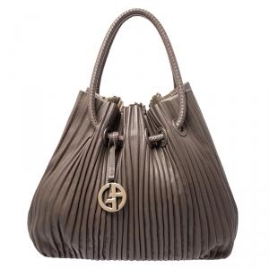 Giorgio Armani Brown Leather Pleated Hobo