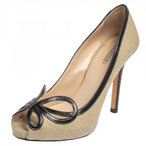 Giorgio Armani Beige/Black Raffia And Patent Butterfly Peep Toe Pumps Size 36