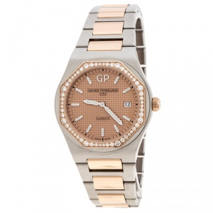 GP Girard Perregaux 18K Rose Gold Stainless Steel Diamond Laureto 80189 Women's Wristwatch 34 mm