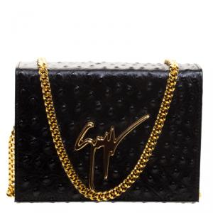 Giuseppe Zanotti Black Ostrich Embossed Leather Crossbody Bag
