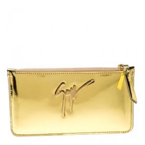 Giuseppe Zanotti Metallic Gold Leather Margery Zip Pouch