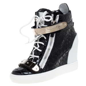 Giuseppe Zanotti Black Python Embossed Patent Leather Lorenz Wedge High Top Sneakers Size 37