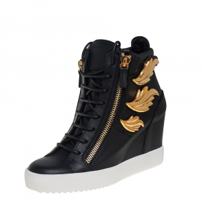 Giuseppe Zanotti Black Leather Wing Detail High Top Wedge Sneakers 41