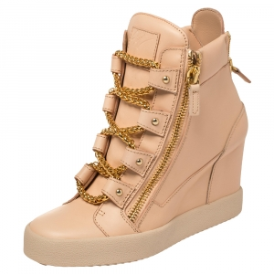 Giuseppe Zanotti Beige Leather Chain Detail High Top Wedge Sneakers Size 41