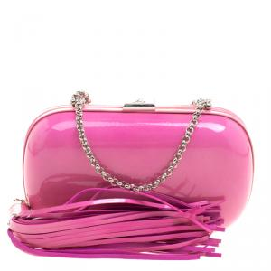 Giuseppe Zanotti Pink Patent Leather Tassel Box Clutch