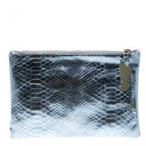 Giuseppe Zanotti Metallic Blue Snakeskin Embossed Leather Margery Clutch