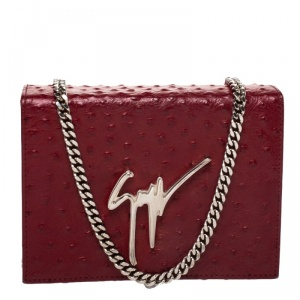 Giuseppe Zanotti Red Ostrich Embossed Leather Chain Shoulder Bag
