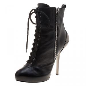 Giuseppe Zanotti Black Leather Lace Up Boots Size 37 - used