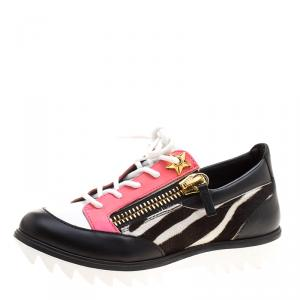 Giuseppe Zanotti Multicolor Zebra Print Pony Hair and Leather Lace Up Sneakers Size 37 - used
