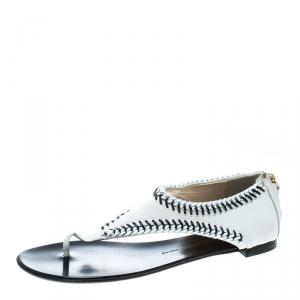 Giuseppe Zanotti White Leather Chain Trim Flat Thong Sandals Size 42 - used