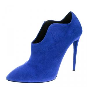 Giuseppe Zanotti Blue Suede Olinda Ankle Booties Size 37.5 - used