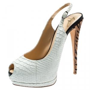 Giuseppe Zanotti White Python Embossed Leather Peep Toe Platform Slingback Sandals Size 40 - used