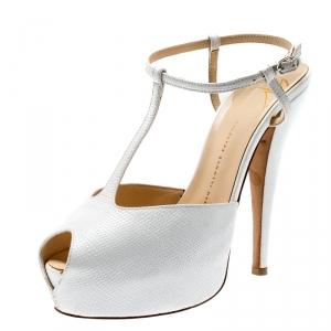 Giuseppe Zanotti White Lizard Embossed Leather T-Strap Platform Peep Toe Sandals Size 39.5 - used