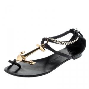 Giuseppe Zanotti Black Leather Gold Anchor Strap Flat Sandals Size 37 - used