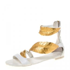 Giuseppe Zanotti White Leather Metal Leaf Embellished Flat Sandals Size 36 - used
