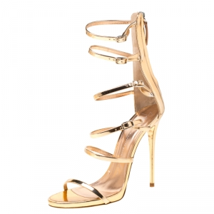 Giuseppe Zanotti Metallic Rose Gold Leather Open Toe Gladiator Sandals Size 39.5 - used