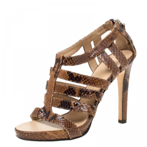 Giuseppe Zanotti Brown Python Embossed Leather Strappy Sandals Size 37.5