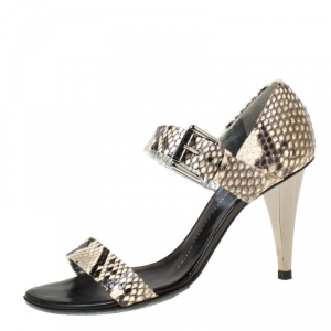 Giuseppe Zanotti Beige/Black Snakeskin Open Toe Buckle Strap Sandals Size 38 - used