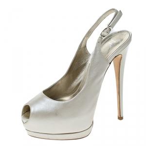 Guiseppe Zannotti Cream Leather Peep Toe Slingback Platform Sandals Size 37 - used