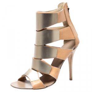 Giuseppe Zanotti Beige Leather Gladiator Embellished Cut Out Sandals Size 41 - used