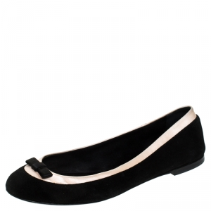 Giuseppe Zanotti Black Suede And Beige Satin Bow Detail Ballet Flats Size 39 - used