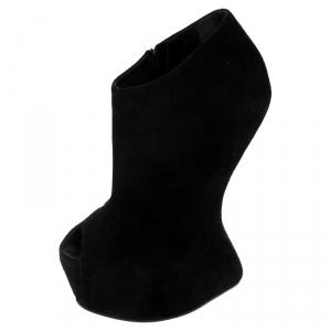 Giuseppe Zanotti Black Suede Heel-Less Zipped Booties Size 36 - used