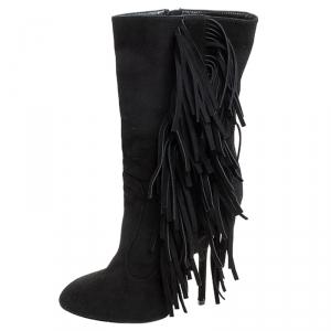 Giuseppe Zanotti Black Suede Fringe Detail Mid Calf Boots Size 38.5 - used