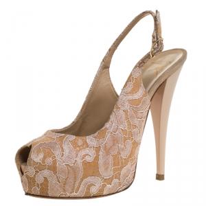 Giuseppe Zanotti Beige Lace Peep Toe Slingback Sandals Size 37 - used
