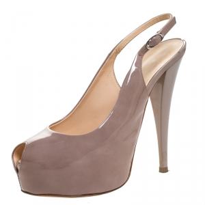 Giuseppe Zanotti Beige Patent Leather Peep Toe Slingback Platform Sandals Size 38.5 - used