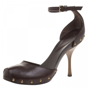 Giuseppe Zanotti Brown Leather Ankle Strap Platform Sandals Size 39 - used