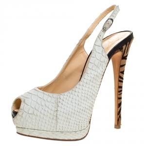 Giuseppe Zanotti White Python Embossed Leather Peep Toe Platform Slingback Sandals Size 37.5 - used