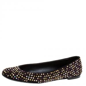 Giuseppe Zanotti Black Crystal Embellished Suede Ballet Flats Size 39 - used