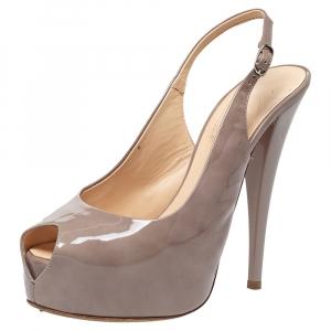 Giuseppe Zanotti Grey Patent Leather Peep Toe Slingback Platform Sandals Size 39 - used