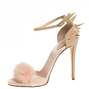 Giuseppe Zanotti Peach Satin, Suede and Fur Spiked Ankle Strap Sandals Size 37.5 - used