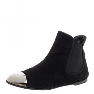 Giuseppe Zanotti Black Suede Leather Metal Cap Ankle Booties Size 40