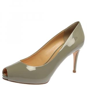 Giuseppe Zanotti Grey Patent Leather Peep Toe Platform Pumps Size 39