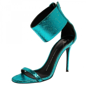 Giuseppe Zanotti Metallic Blue Snake Embossed Leather Andrea Ankle Cuff Sandals Size 38 - used
