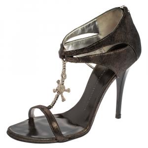 Giuseppe Zanotti Metallic Black Suede Skull Embellished T Strap Sandals Size 38 - used