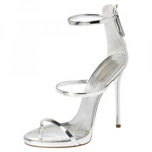 Giuseppe Zanotti Silver Patent Leather Harmony Sandals Size 39 - used