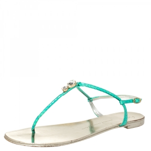 Giuseppe Zanotti Green Metallic Iridescent Leather T-Strap  Embellished Sandals Size 41