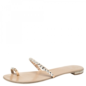 Giuseppe Zanotti Beige Leather Embellished Toe Ring Flat Sandals Size 41