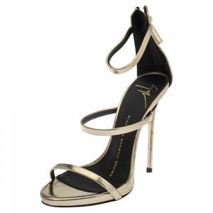 Giuseppe Zanotti Gold Foil Leather Harmony Strap Sandals Size 35