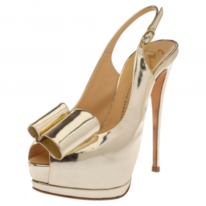 Giuseppe Zanotti Metallic Gold Leather Bow Embellished Platform Slingback Sandals Size 37.5