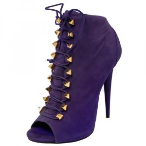 Giuseppe Zanotti Purple Suede Studded Pyramid Peep Toe Boots Size 41 - used