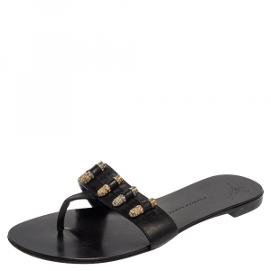 Giuseppe Zanotti Black Leather Studded Thong Sandals Size 37