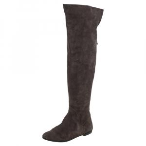 Giuseppe Zanotti Grey Suede Knee Length Boots Size 40 - used